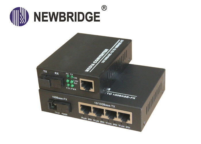 10 100M Media Converter,20KM single fiber single mode SC port with 4 port Switch